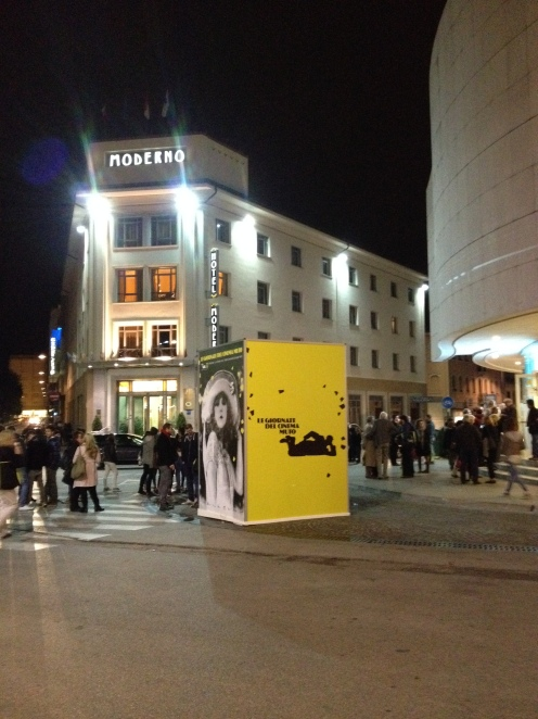 In front of the Teatro Verdi. Hotel Moderno in the back.