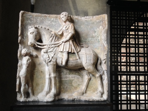 Medieval equestrian statue of St. Mark and the Beggar, Tuscan Master of 1436, Castelvecchio Museum, Verona